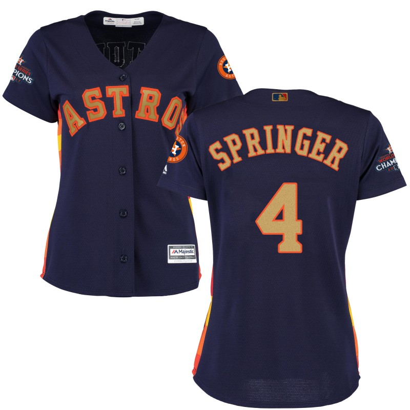 Women's Houston Astros #4 George Springer Navy 2018 Gold Program Cool Base Stitched MLB Jersey