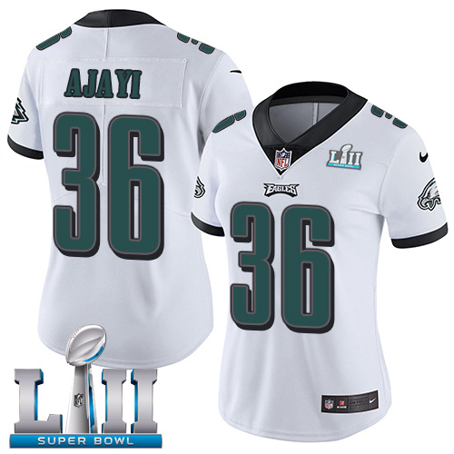 Women's Philadelphia Eagles # 36 Jay Ajayi White Super Bowl LII Bound Patch Game Event Stitched NFL Jersey