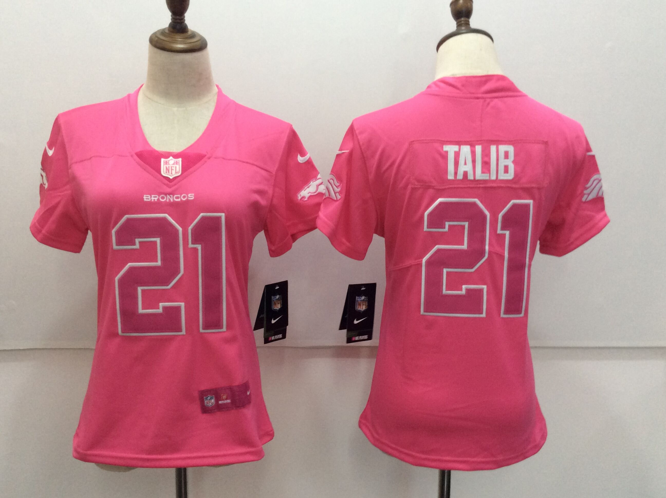 Women's Nike Denver Broncos #21 Aqib Talib Pink Limited Rush Fashion Stitched NFL Jersey