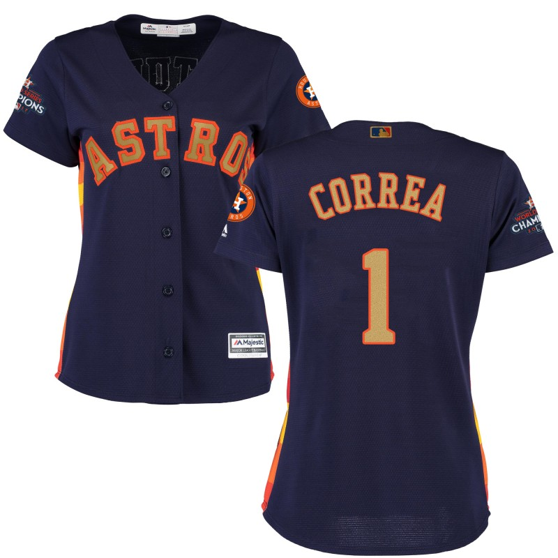 Women's Houston Astros #1 Carlos Correa Navy 2018 Gold Program Cool Base Stitched MLB Jersey