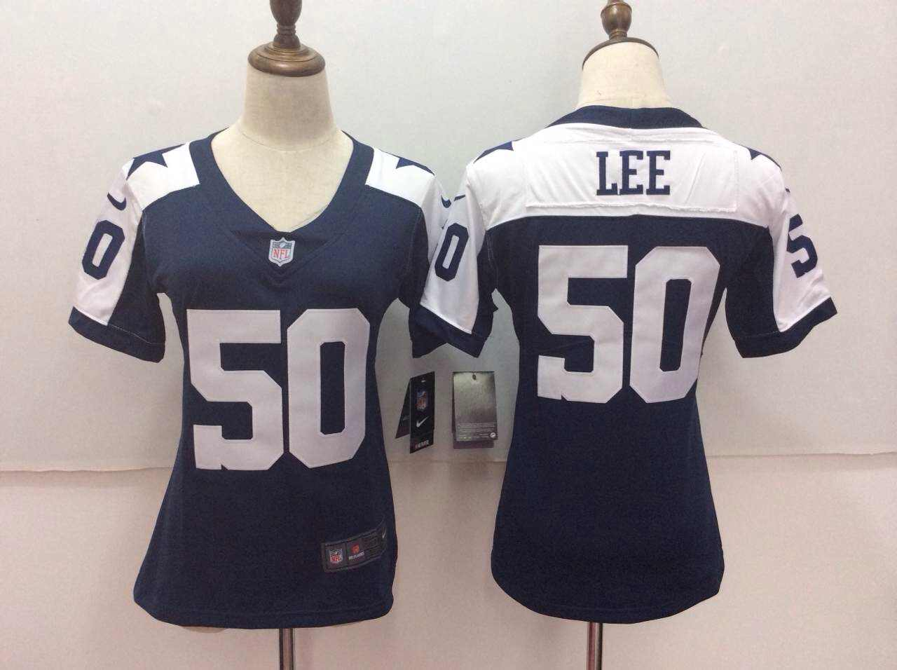 Women's Nike Dallas Cowboys # 50 Lee Blue Thanksgiving Limited Stitched NFL Jersey