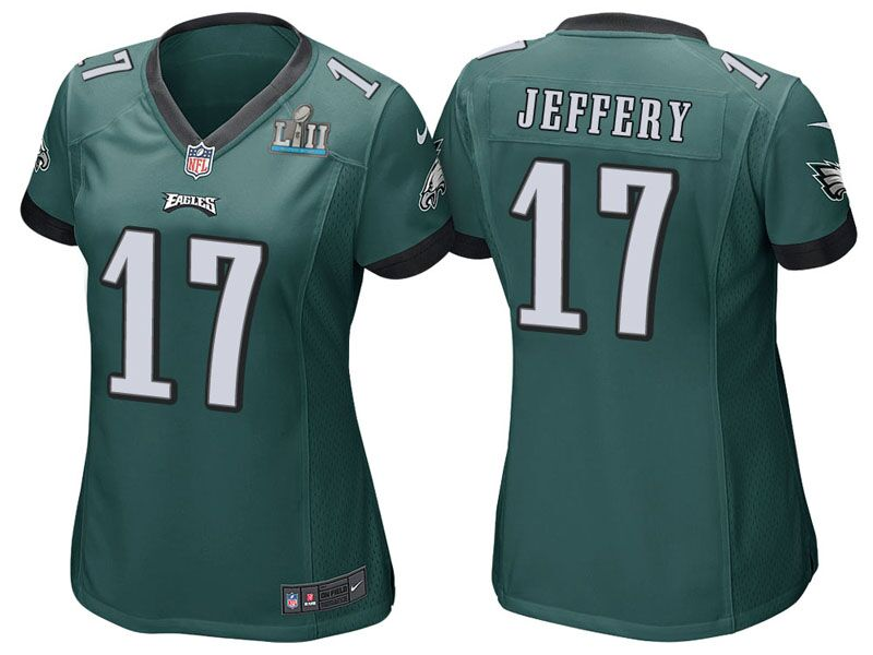 Women's Philadelphia Eagles #17 Alshon Jeffery Green Super Bowl LII Bound Patch Game Event Stitched NFL Jersey