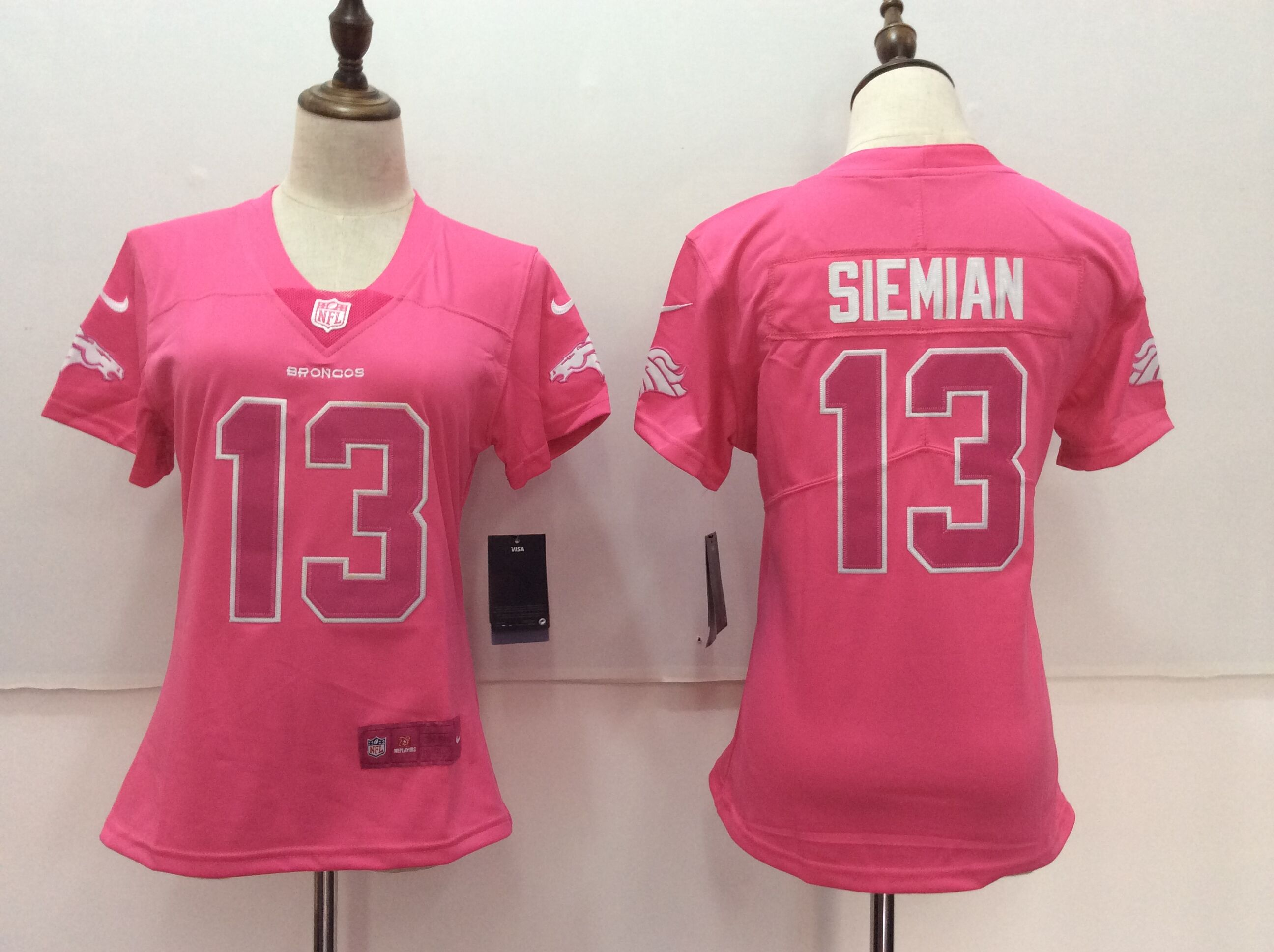 Women's Nike Denver Broncos #13 Trevor Siemian Pink Limited Rush Fashion Stitched NFL Jersey