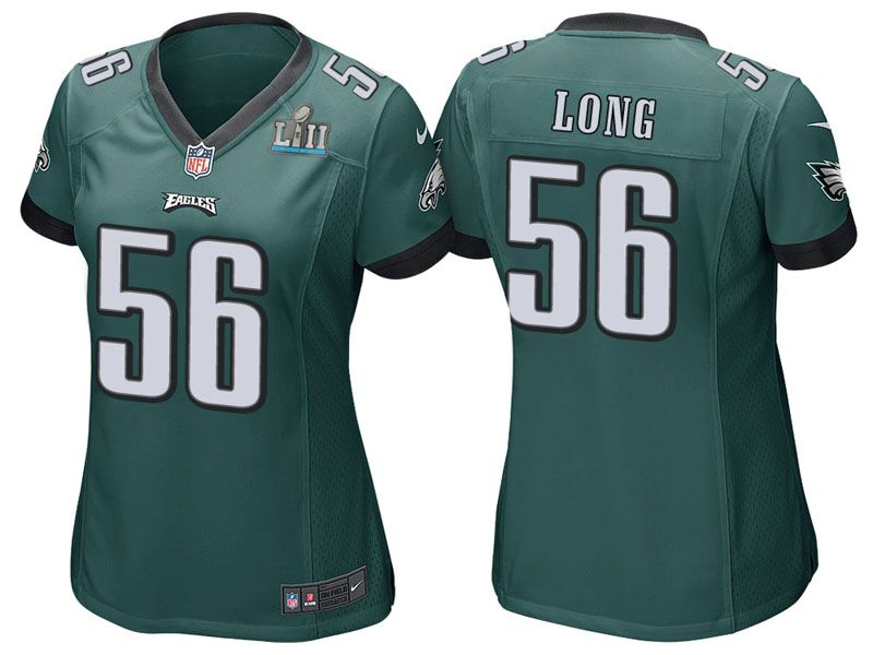 Women's Philadelphia Eagles #56 Chris Long Green Super Bowl LII Bound Patch Game Event Stitched NFL Jersey