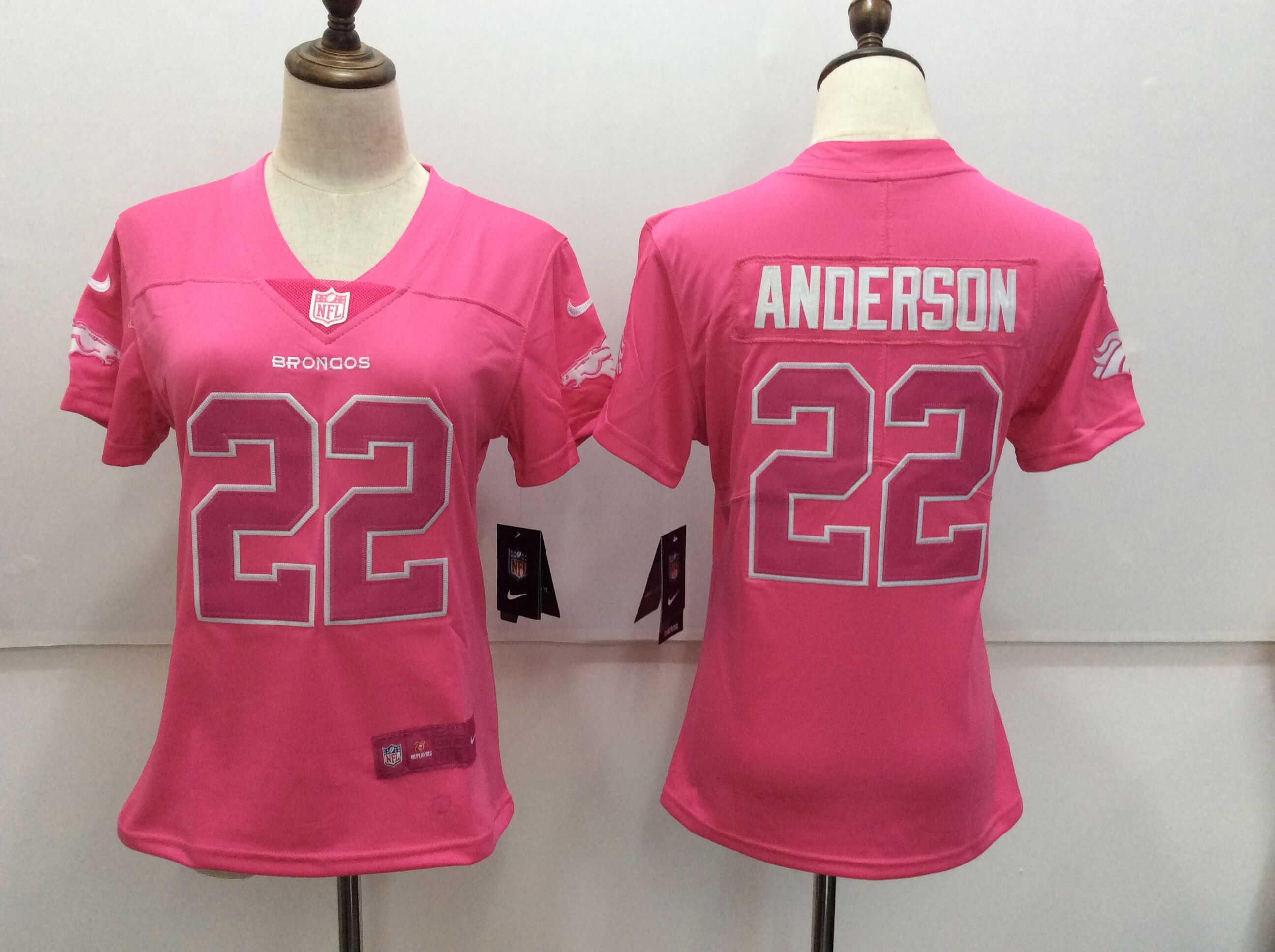 Women's Nike Denver Broncos #22 C.J. Anderson Pink Limited Rush Fashion Stitched NFL Jersey
