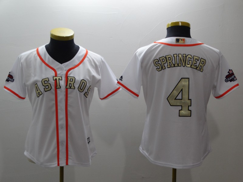 Women's Houston Astros #4 George Springer Majestic White 2018 Gold Program Cool Base Player Stitched MLB Jersey