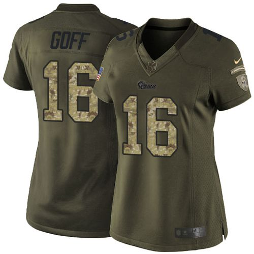 Nike Rams #16 Jared Goff Green Women's Stitched NFL Limited Salute to Service Jersey