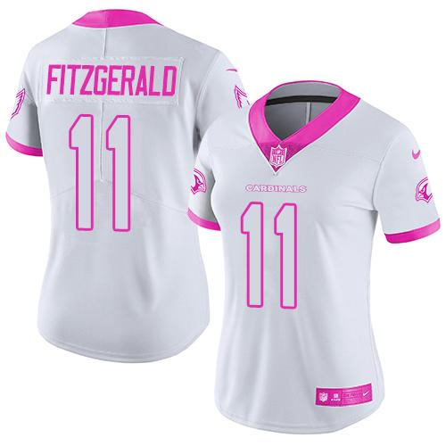 Nike Cardinals #11 Larry Fitzgerald White/Pink Women's Stitched NFL Limited Rush Fashion Jersey