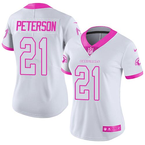 Nike Cardinals #21 Patrick Peterson White/Pink Women's Stitched NFL Limited Rush Fashion Jersey