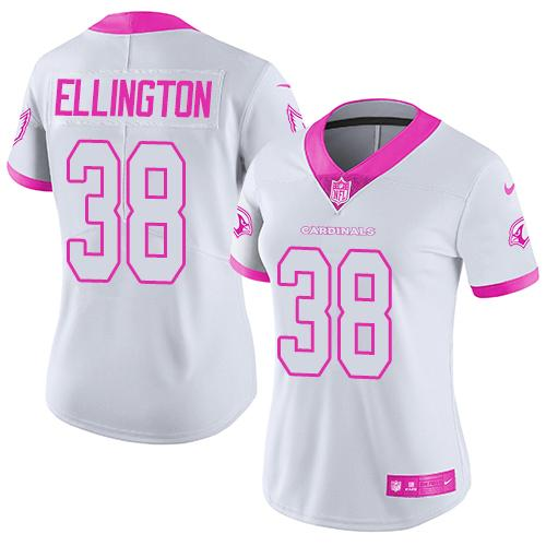 Nike Cardinals #38 Andre Ellington White/Pink Women's Stitched NFL Limited Rush Fashion Jersey