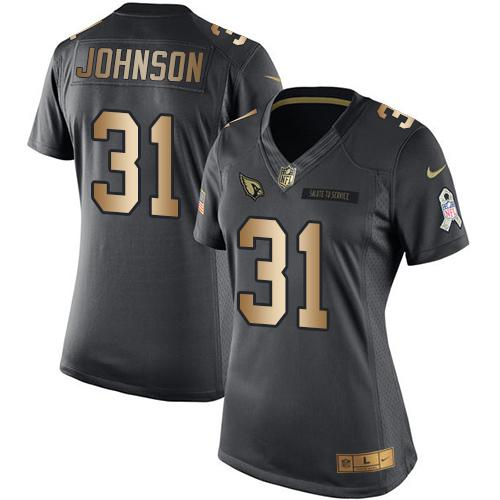 Nike Cardinals #31 David Johnson Black Women's Stitched NFL Limited Gold Salute to Service Jersey
