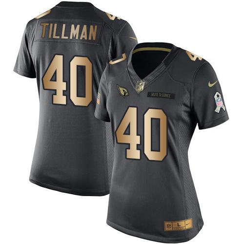 Nike Cardinals #40 Pat Tillman Black Women's Stitched NFL Limited Gold Salute to Service Jersey