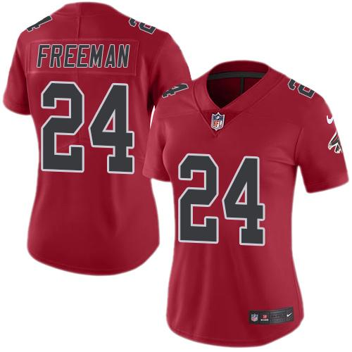 Nike Falcons #24 Devonta Freeman Red Women's Stitched NFL Limited Rush Jersey