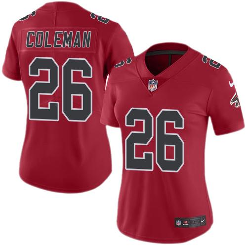 Nike Falcons #26 Tevin Coleman Red Women's Stitched NFL Limited Rush Jersey