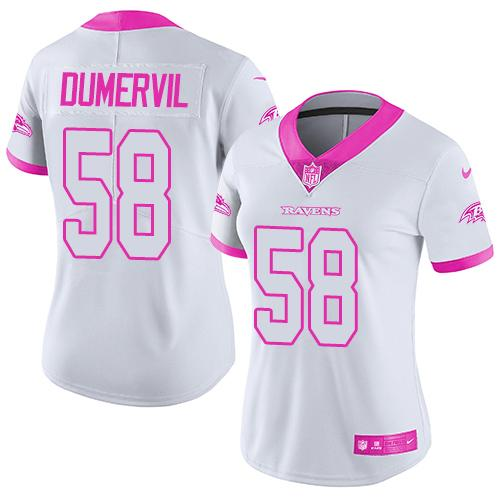 Nike Ravens #58 Elvis Dumervil White/Pink Women's Stitched NFL Limited Rush Fashion Jersey