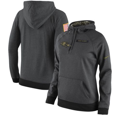 Women's Baltimore Ravens Nike Anthracite Salute to Service Player Performance Hoodie