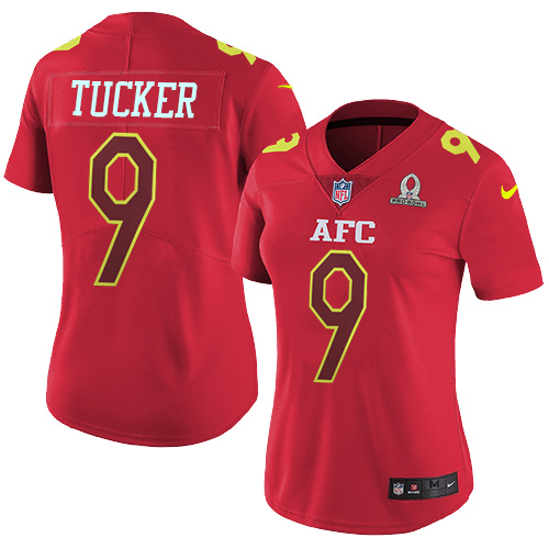 Nike Ravens #9 Justin Tucker Red Women's Stitched NFL Limited AFC 2017 Pro Bowl Jersey