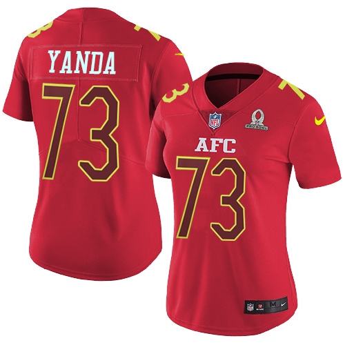 Nike Ravens #73 Marshal Yanda Red Women's Stitched NFL Limited AFC 2017 Pro Bowl Jersey
