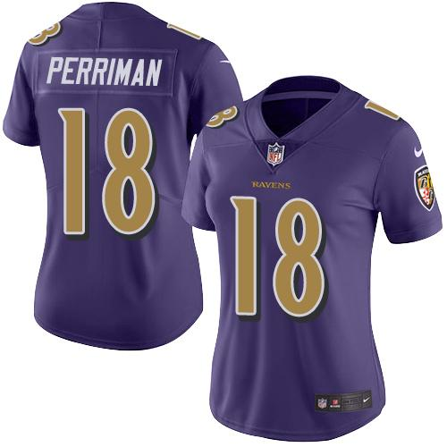 Nike Ravens #18 Breshad Perriman Purple Women's Stitched NFL Limited Rush Jersey