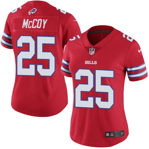 Nike Bills #25 LeSean McCoy Red Women's Stitched NFL Limited Rush Jersey