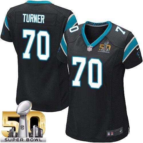 Nike Panthers #70 Trai Turner Black Team Color Super Bowl 50 Women's Stitched NFL Elite Jersey