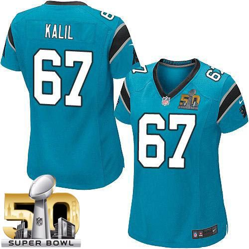 Nike Panthers #67 Ryan Kalil Blue Alternate Super Bowl 50 Women's Stitched NFL Elite Jersey