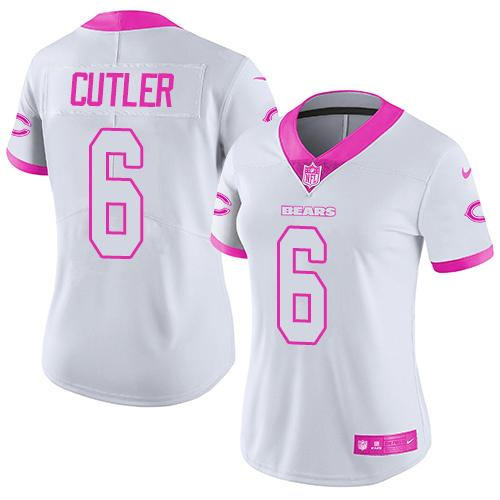 Nike Bears #6 Jay Cutler White/Pink Women's Stitched NFL Limited Rush Fashion Jersey