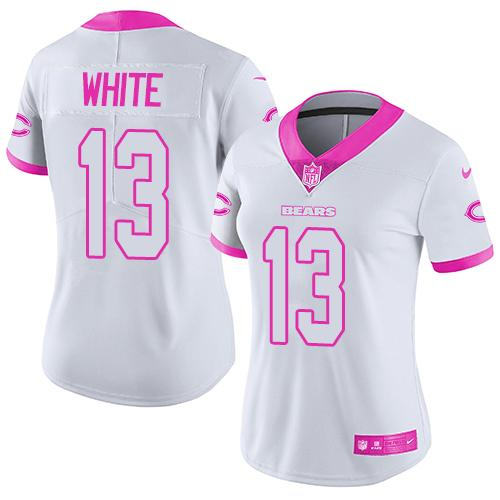 Nike Bears #13 Kevin White White/Pink Women's Stitched NFL Limited Rush Fashion Jersey