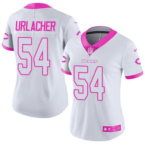 Nike Bears #54 Brian Urlacher White/Pink Women's Stitched NFL Limited Rush Fashion Jersey