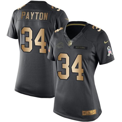 Nike Bears #34 Walter Payton Black Women's Stitched NFL Limited Gold Salute to Service Jersey