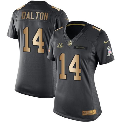 Nike Bengals #14 Andy Dalton Black Women's Stitched NFL Limited Gold Salute to Service Jersey