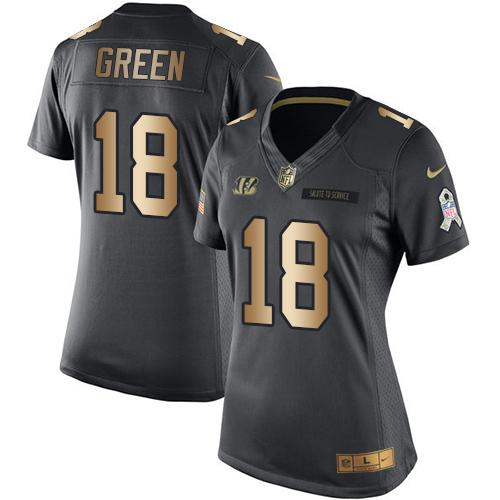Nike Bengals #18 A.J. Green Black Women's Stitched NFL Limited Gold Salute to Service Jersey