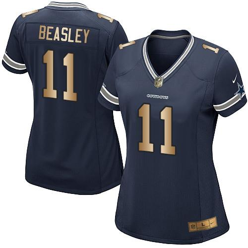 Nike Cowboys #11 Cole Beasley Navy Blue Team Color Women's Stitched NFL Elite Gold Jersey