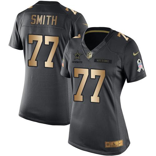 Nike Cowboys #77 Tyron Smith Black Women's Stitched NFL Limited Gold Salute to Service Jersey