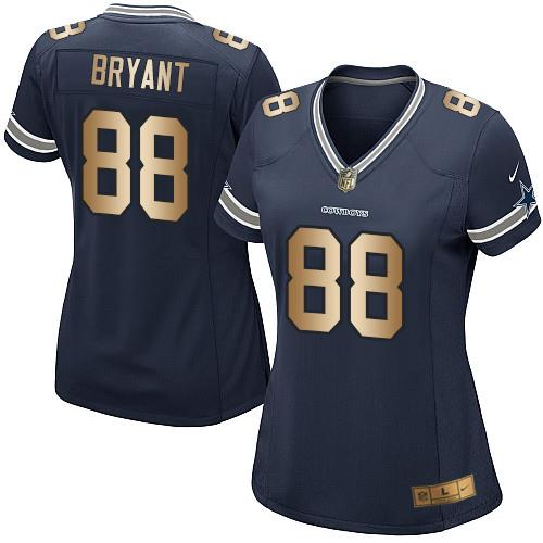 Nike Cowboys #88 Dez Bryant Navy Blue Team Color Women's Stitched NFL Elite Gold Jersey