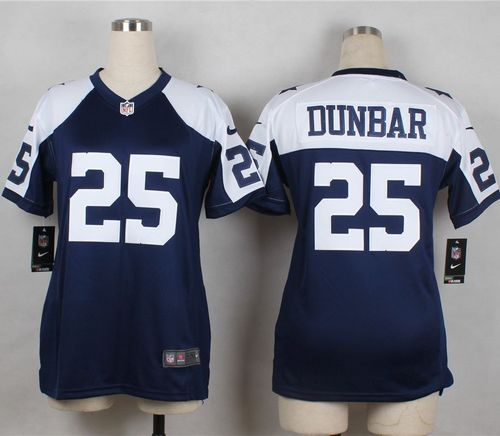 Nike Cowboys #25 Lance Dunbar Navy Blue Thanksgiving Throwback Women's Stitched NFL Elite Jersey