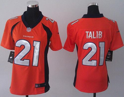 Nike Broncos #21 Aqib Talib Orange Team Color Women's Stitched NFL New Elite Jersey