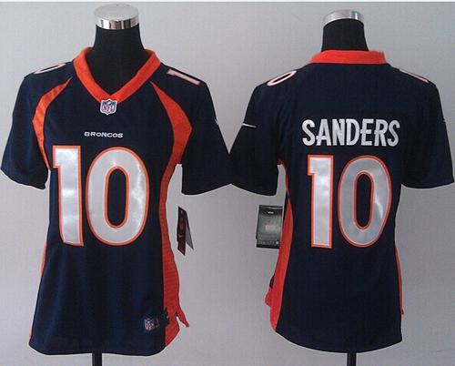 Nike Broncos #10 Emmanuel Sanders Blue Alternate Women's Stitched NFL New Elite Jersey