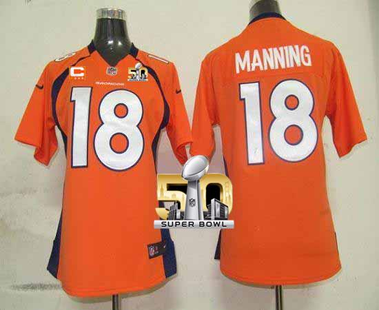 Nike Broncos #18 Peyton Manning Orange Team Color With C Patch Super Bowl 50 Women's Stitched NFL Elite Jersey