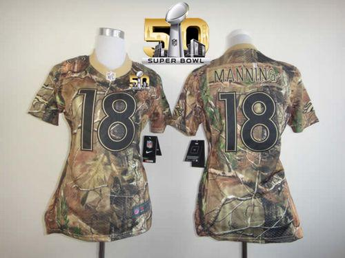 Nike Broncos #18 Peyton Manning Camo Super Bowl 50 Women's Stitched NFL Realtree Elite Jersey