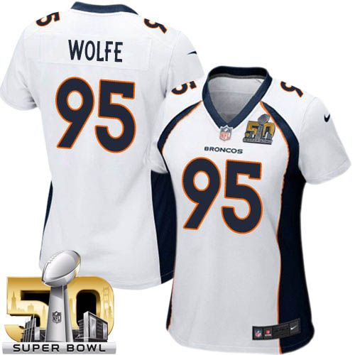 Nike Broncos #95 Derek Wolfe White Super Bowl 50 Women's Stitched NFL New Elite Jersey