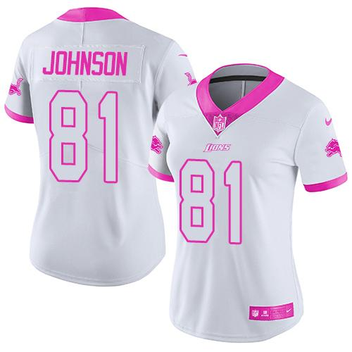 Nike Lions #81 Calvin Johnson White/Pink Women's Stitched NFL Limited Rush Fashion Jersey