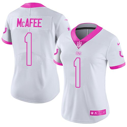Nike Colts #1 Pat McAfee White/Pink Women's Stitched NFL Limited Rush Fashion Jersey