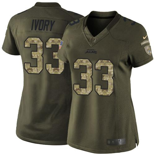 Nike Jaguars #33 Chris Ivory Green Women's Stitched NFL Limited Salute to Service Jersey