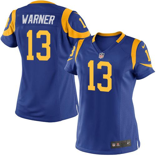 Nike Rams #13 Kurt Warner Royal Blue Alternate Women's Stitched NFL Elite Jersey