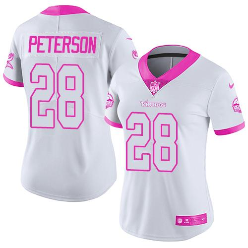 Nike Vikings #28 Adrian Peterson White/Pink Women's Stitched NFL Limited Rush Fashion Jersey