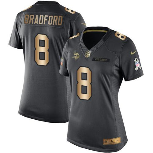 Nike Vikings #8 Sam Bradford Black Women's Stitched NFL Limited Gold Salute to Service Jersey