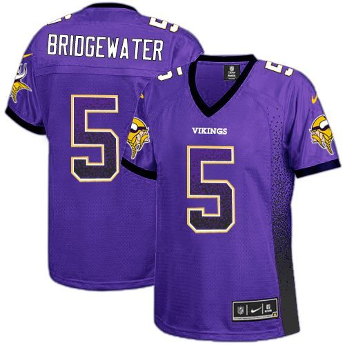 Nike Vikings #5 Teddy Bridgewater Purple Team Color Women's Stitched NFL Elite Drift Fashion Jersey