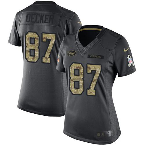 Nike Jets #87 Eric Decker Black Women's Stitched NFL Limited 2016 Salute to Service Jersey