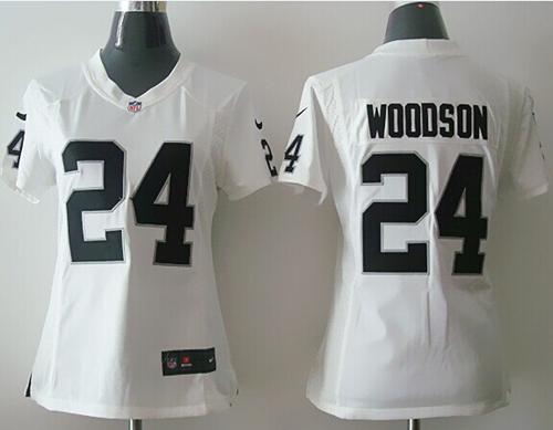 Nike Raiders #24 Charles Woodson White Women's Stitched NFL Elite Jersey